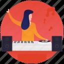 club music, disk jockey, disk player, dj, event musician, pianist icon