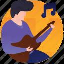 guitar player, guitarist, male playing guitar, musician, playing guitar icon