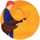 entertainment, guitar player, guitarist, male playing guitar, playing guitar icon