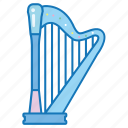 frame, harp, instrument, medieval, music, musical, strings icon