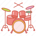 drum, drumkit, instrument, kit, music, musical, set icon