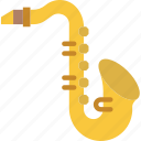 audio, instrument, music, play, saxophone, song, sound icon