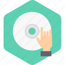 cd, hand, music, on, play, songs icon