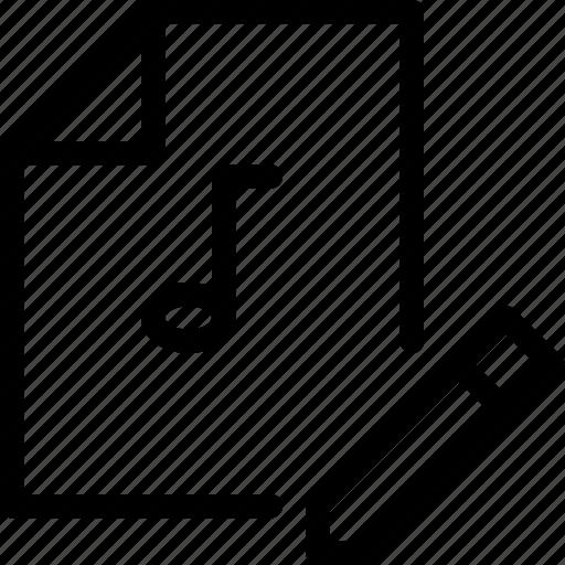 edit, edit-file, file-type, multimedia, storage, write, write-music icon