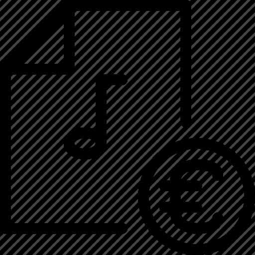 euro, file-type, multimedia, music, music-royalties, pay, storage icon
