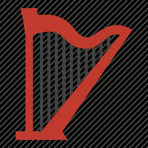 entertainment, harp, instrument, music, rhythm, song, stringed instrument icon