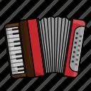 accordion, accordionist, instrument, music