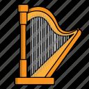 harp, instrument, music, orchestra