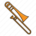 instrument, music, orchestra, trombone, wind instrument icon
