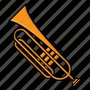 instrument, music, orchestra, trumpet, wind instrument icon