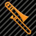 instrument, music, orchestra, trombone, wind instrument icon
