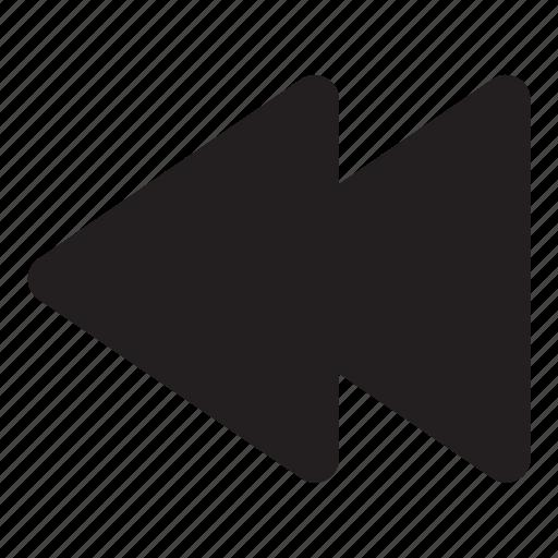 arrow, fast backward, interaction, music, ui, user interface icon