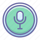 audio, microphone, on, record, sing, voice icon
