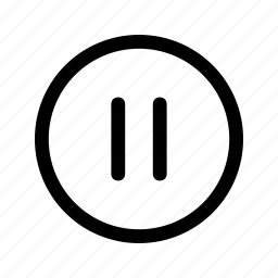 circle, lines, music, pause icon