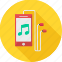 ear phone, mobile, music, node, playing, song, sound icon