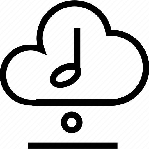 cloud, music, note, play, sound icon