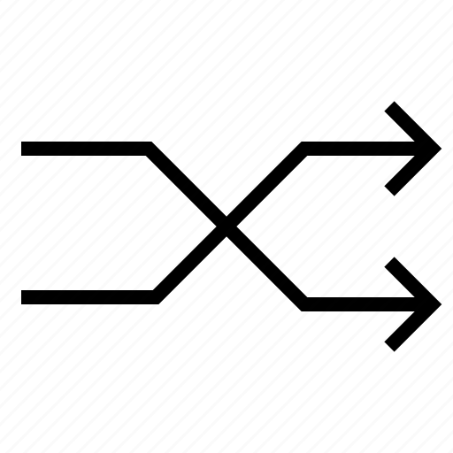 arrow, audio, media, music, shuffle, song, sound icon