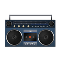 blue, boombox icon