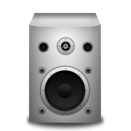 speaker, white icon