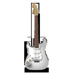 guitar, stratocastor, white icon