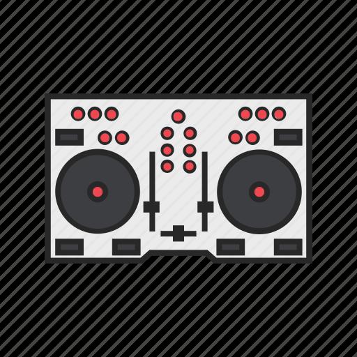 dj, instruments, mixer, music icon
