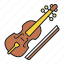 cello, fiddle, instrument, music, musical, viola, viola bow icon