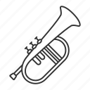 bugle, flugel, flugelhorn, horn, instrument, musical, trumpet icon