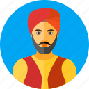 indian, sikh, buddhism, man, nationality, traditional, turban icon