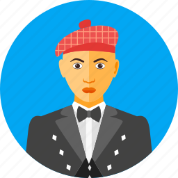 country, european, man, nationality, scotland, scottish, traditional icon
