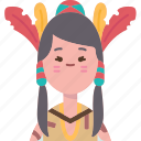native, american, woman, ethnic, costume icon