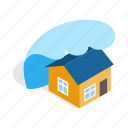 danger, disaster, flood, house, isometric, tsunami, water icon