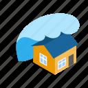 danger, disaster, flood, house, isometric, tsunami, water icon