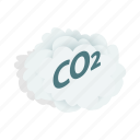 carbon, chemistry, cloud, co2, dioxide, gas, isometric icon