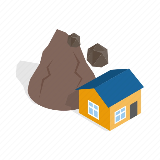 destruction, disaster, isometric, mountain, nature, rock, rockfall icon