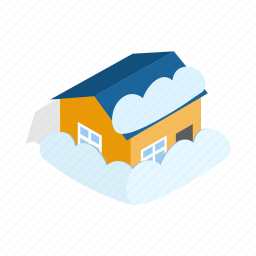 building, home, house, isometric, nature, snow, winter icon