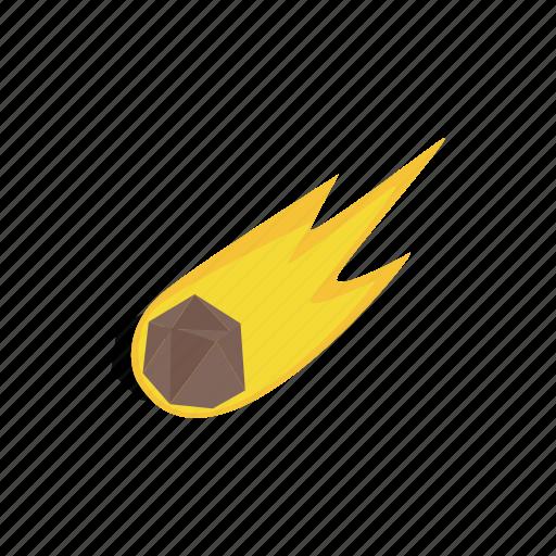asteroid, comet, danger, disaster, isometric, meteor, meteorite icon