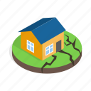 damage, destruction, disaster, earthquake, home, house, isometric