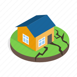 damage, destruction, disaster, earthquake, home, house, isometric icon