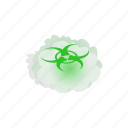 biohazard, cloud, danger, dangerous, isometric, toxic, warning icon