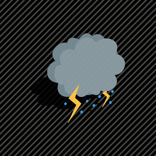 cloud, isometric, lightning, rain, storm, thunder, weather icon