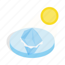 arctic, cold, ice, iceberg, isometric, sun, water icon