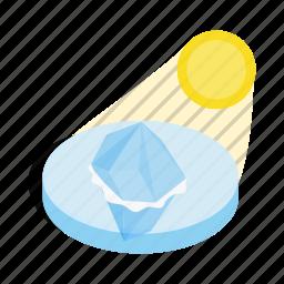 arctic, cold, ice, iceberg, isometric, sun, water icon