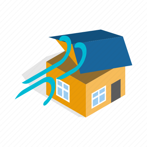 building, destruction, house, hurricane, isometric, storm, wind icon