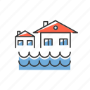 disasters, flood, house, natural, overflow, submerged, water icon