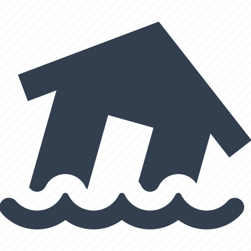 apocalypse, catastrophe, disaster, flood, house, insurance, natural, nature, water icon