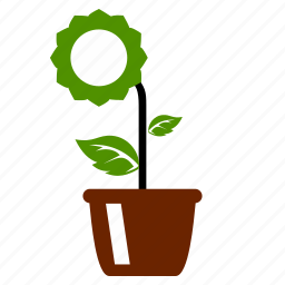 agriculture, base, eco, flower, nature, plant, pot, sun icon