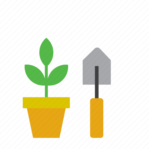 flowerpot, natural, nature, plant, shovel icon