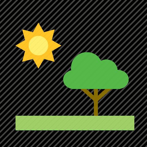 african, natural, nature, savanna, sun, tree icon