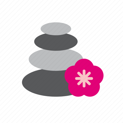 bloom, cairn, flower, nature, pile, stack, stones icon