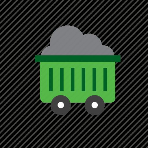 coal, mine, mineral, natural, nature, wagon icon